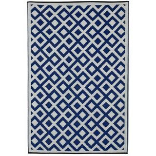 Handmade Indo Marina Indigo and Bright White Geometric Area Rug (6' x 9')