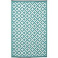 Handmade Indo Marina Eggshell Blue and Bright White Geometric Area Rug (6' x 9')