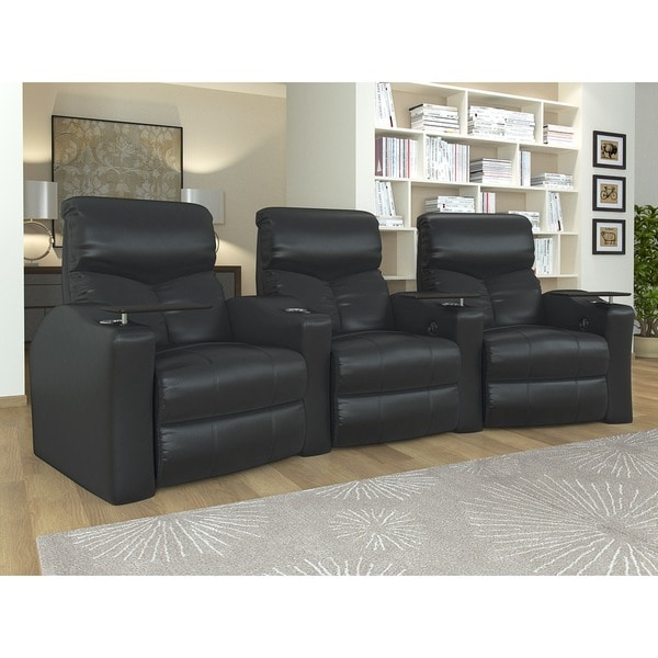 Home Theater Seating Bonded Leather Curved Row With Manual Recline Black
