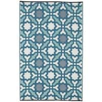 Fab Habitat Indoor/Outdoor Recycled Plastic Rug Seville Multicolor Blue (5' x 8') - multi