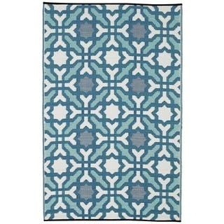 Fab Habitat Indoor/Outdoor Recycled Plastic Rug Seville Multicolor Blue (5' x 8') - 5' x 8'