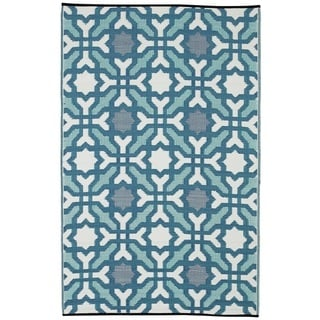 Indo Seville Multicolor Blue Geometric Area Rug (6' x 9')