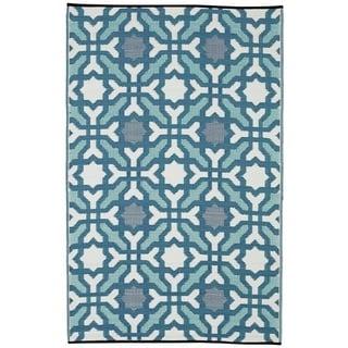 Indo Seville Multicolor Blue Geometric Area Rug (6' x 9')