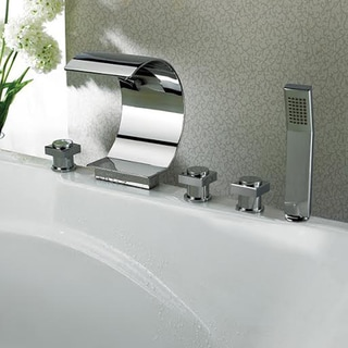 Kokols Modern Bathroom Chrome Waterfall Tub Faucet and Hand Shower
