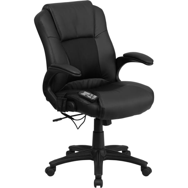 Offex Massaging Black Leather Executive Office Chair