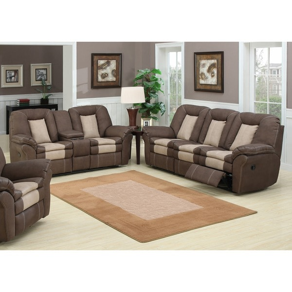 Carson 2 Piece Dual Reclining Sofa With Storage Console And Loveseat Set