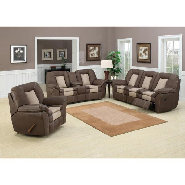 Carson 3 piece living room set with 5 recliners free for Living room 3 piece sets