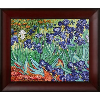Vincent Van Gogh 'Irises' Hand Painted Red Framed Canvas Art
