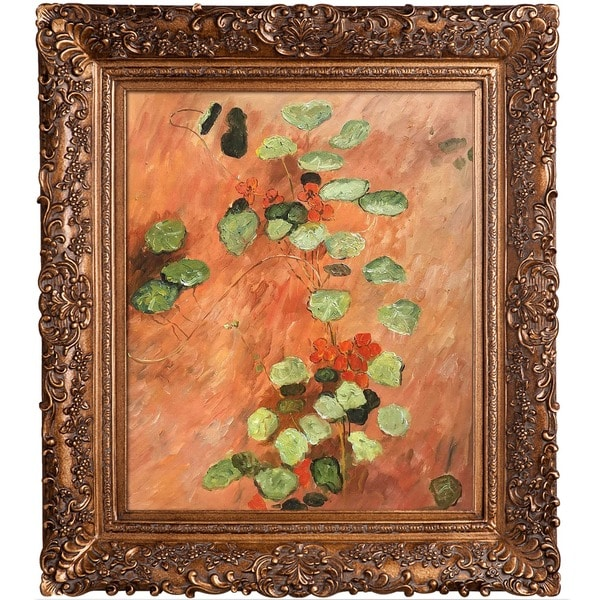 Gustave Caillebotte 'Nasturces' Hand-painted Framed Canvas Art