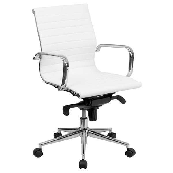 Offex Mid Back White Ribbed Upholstered Leather Conference Chair
