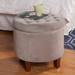 HomePop Large Button-tufted Round Storage Ottoman (2 options available)