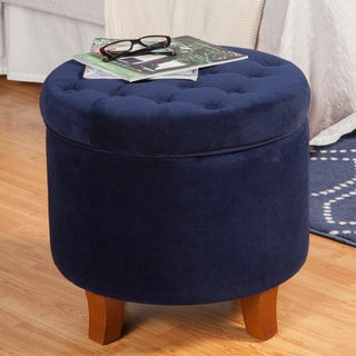 HomePop Large Button-Tufted Round Storage Ottoman