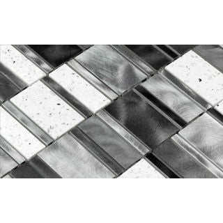 Martini Mosaic 11.5 x 11.5 Citta Silver Luster Tiles (Set of 6)