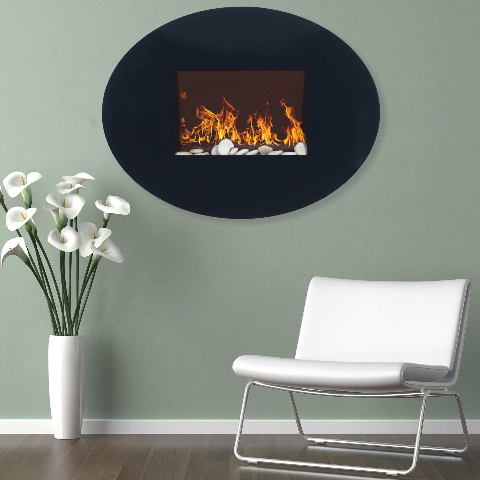 Northwest Black Oval Glass Panel Electric Fireplace with ...