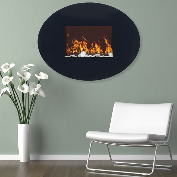 Shop Northwest Black Oval Glass Panel Electric Fireplace