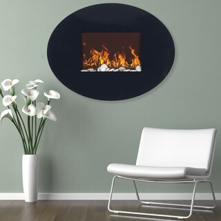 Northwest Black Oval Glass Panel Electric Fireplace with Wall Mount and Remote