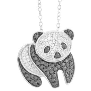 Bridal Symphony Sterling Silver 1/2ct TDW Diamond Panda Pendant (I-J, I2-I3)