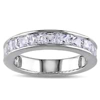 Miadora Sterling Silver 2 1/3ct TGW Created White Sapphire Stackable Ring