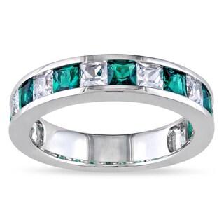 Miadora Sterling Silver 2 1/3ct TGW Created Emerald and White Sapphire Ring