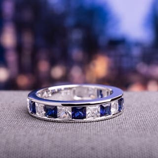 Miadora Sterling Silver 2 1/3ct TGW Square-cut Created Blue and White Sapphire Stackable Anniversary|https://ak1.ostkcdn.com/images/products/9724227/P16898275.jpg?impolicy=medium