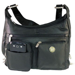 Black Leather Handgun Concealment Satchel