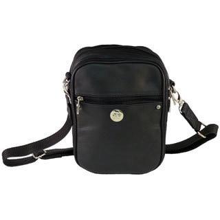 Medium Black Cowhide Leather Anti-theft Handgun Bag