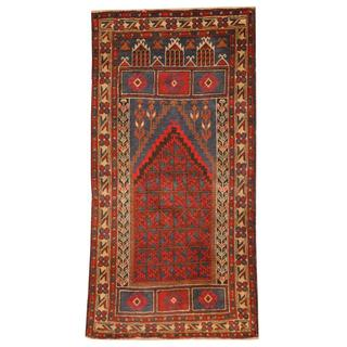 Herat Oriental Semi-antique Afghan Hand-knotted Tribal Balouchi Blue/ Rust Wool Rug (2'6 x 5')