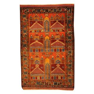 Herat Oriental Semi-antique Afghan Hand-knotted Tribal Balouchi Salmon/ Ivory Wool Rug (2'8 x 4'2)