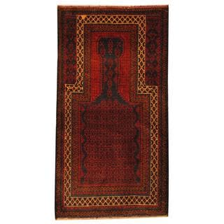 Herat Oriental Afghan Hand-knotted 1950s Semi-antique Tribal Balouchi Wool Rug (2'9 x 5'3)
