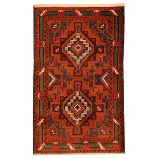 Herat Oriental Afghan Hand-knotted 1950s Semi-antique Tribal Balouchi Wool Rug (2'9 x 4'7)