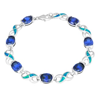 La Preciosa Sterling Silver Blue Opal and Cubic Zirconia Link Bracelet
