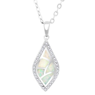 La Preciosa Sterling Silver White Opal and Cubic Zirconia Marquise Pendant