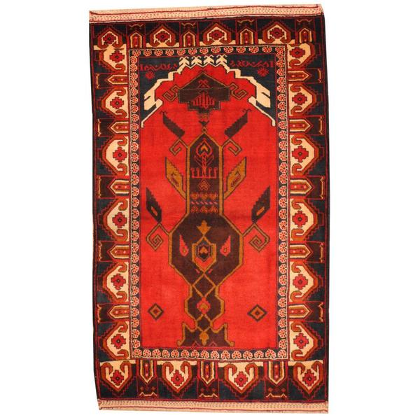 Herat Oriental Afghan Hand-knotted 1950s Semi-antique Tribal Balouchi Wool Rug (3' x 4'10)