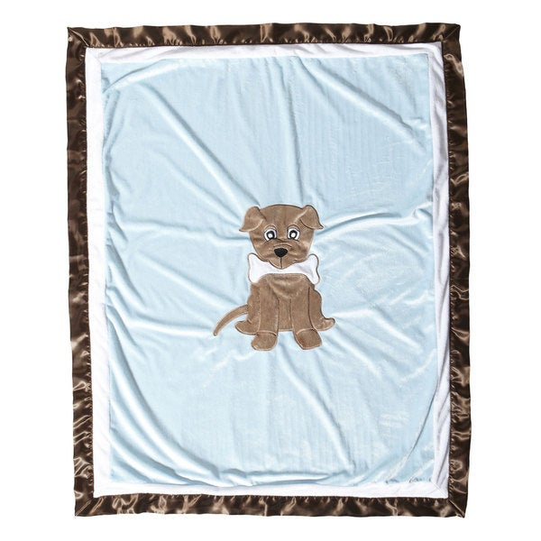 One Grace Place Puppy Pal Boy's Blue/ Brown Toddler Quilt