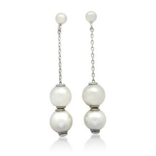 Gioelli Sterling Silver Round White Pearl Dangle Earrings (8 mm)