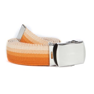 Unisex Striped Canvas Web Belt (Option: Multicolor Orange)