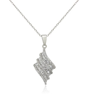 Gioelli Sterling Silver Baguette-cut Cubic Zirconia Curved Designer Necklace