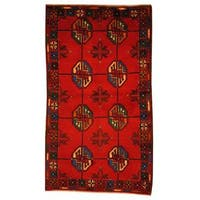 Herat Oriental Semi-antique Afghan Hand-knotted Tribal Balouchi Red/ Teal Wool Rug (2'7 x 4'6)
