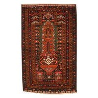 Herat Oriental Afghan Hand-knotted 1960s Semi-antique Tribal Balouchi Wool Rug - 2'10 x 4'8