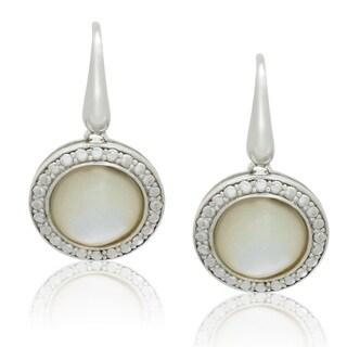 Gioelli Sterling Silver Freshwater Half Pearls Fishhook Dangle Earrings (9-10 mm)