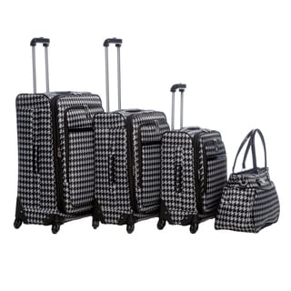 Anne Klein Boston Houndstooth 4-piece Spinner Luggage Set