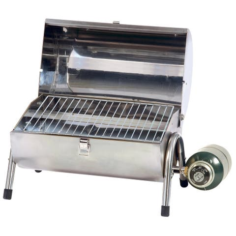 """Stansport Stainless Steel Propane BBQ Grill - Silver - 14.75"""" L x 10"""" W x 17.5"""" H"""