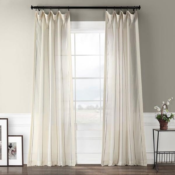 Exclusive Fabrics Aruba Striped Linen Sheer Curtain Panel. Opens flyout.
