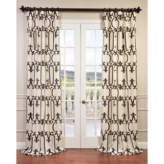 Exclusive Fabrics Royal Gate Flocked Faux Silk Taffeta Curtain Panel