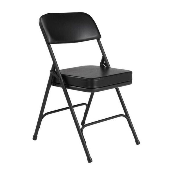 "NPS® 3200 Series Premium 2"" Vinyl Upholstered Double Hinge Folding Chair, Black (Pack of 2)"
