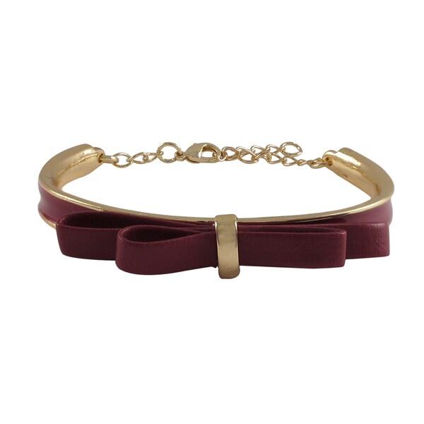 Luxiro Gold Finish Faux Leather Bow Ribbon Girls Enamel Bangle Bracelet