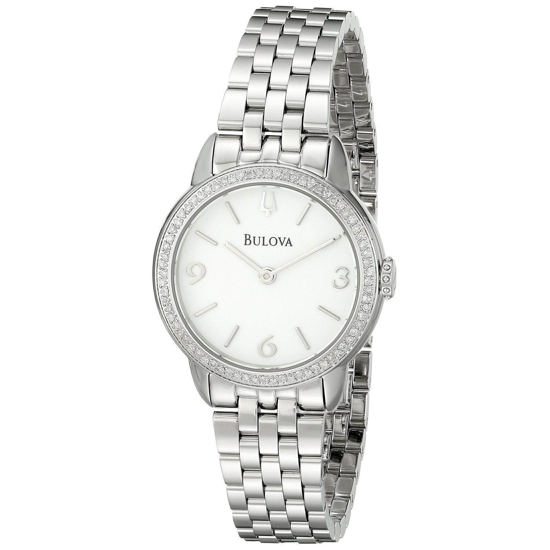 BULOVA Women's 96R181 Diamond Accented White Round Dial W...