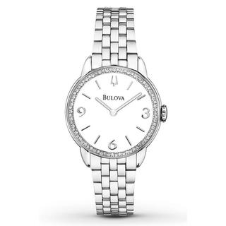 Bulova Women's 96R181 Diamond Accented White Round Dial Watch