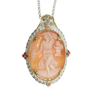 Michael Valitutti Palladium Silver Cameo And Orange Sapphire Pendant