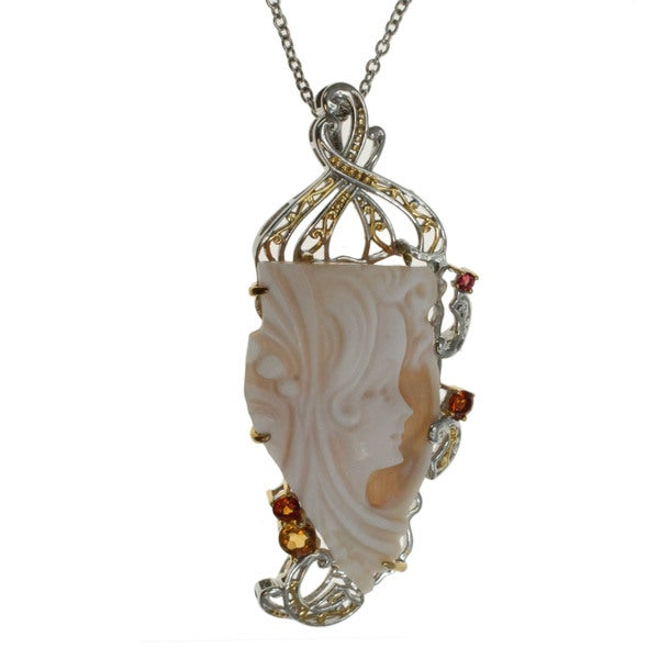 Michael valitutti face cut cameo with citrine pendant for Michael b jewelry death